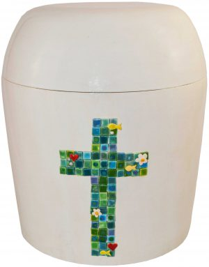 Urne Kreuz in blau/grün