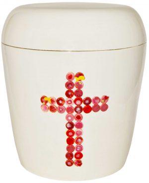 Urne Kreuz in rot/rosa